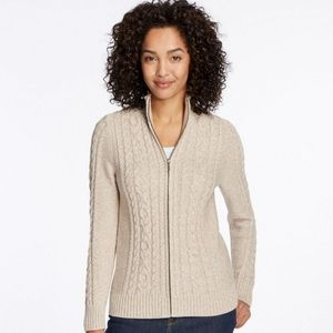 L. L. Bean Mixed-Cable Sweater Zip-Front Cardigan